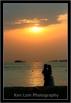 Wedding couple sharing an intimate moment together