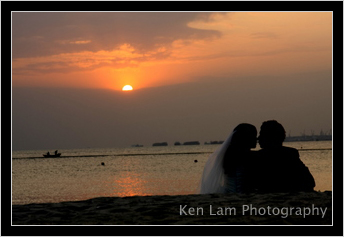 """The """"just marrieds"""" enjoying the sunset"""