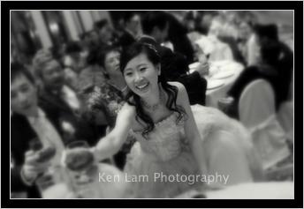 Bride and bridegroom toasting