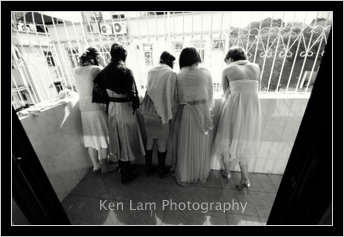 Bridesmaids waiting for the groom to arrive
