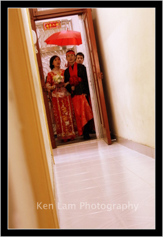 Bride and bridegroom leaving the home