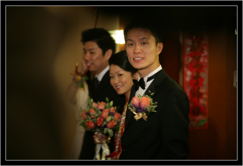Walking out from the bridal room with Ling's brother, Shedden
