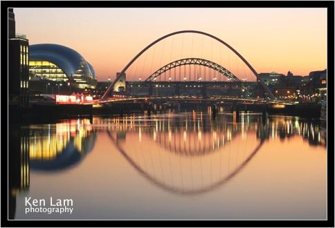 Millenium Bridge, Newcastle upon Tyne Quayside at Sunset